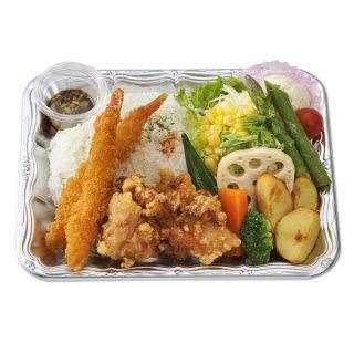 野菜de食べる札幌ザンギ&エビフライプレート【油淋鶏】